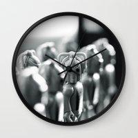 robots Wall Clocks featuring Robots by Emma Harckham