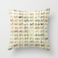 bikes Throw Pillows featuring Bikes by Wyatt Design