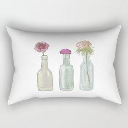 Flowers in Glass Bottles . Pastel Floralprint Botanica Poster Prints Rectangular Pillow