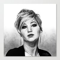 jennifer lawrence Canvas Prints featuring Jennifer Lawrence by Cécile Pellerin