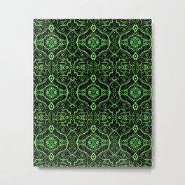 Oriental Lotus Mandala Pattern, Black & Green Metal Print