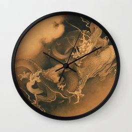 Two Dragons by Kano Hogai, 1885 Wall Clock