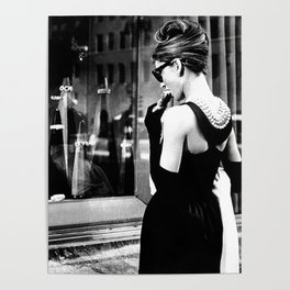 Audrey Hepburn in Black Gown, Jewelry, Vintage Black and White Art Poster