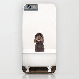 Chocolate Labradoodle Dog in a Vintage Bathtub iPhone Case