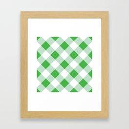 Gingham - Green Framed Art Print