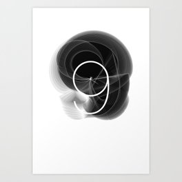 Typographic Treatment of the number 9. Dark Math 9.  Art Print
