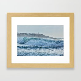Waveforms on the shores of Tel Aviv Framed Art Print