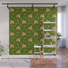 Pretty cute little wild canary birds, red blooming garden tulips, feminine nature flowers dark green pattern. Hello spring. Gift ideas for tulip lovers. Botanical floral animal artistic design. Wall Mural