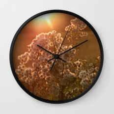 flowers at sunset Wall Clock