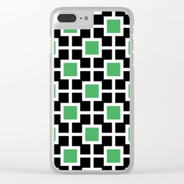 Classic Hollywood Regency Pattern 221 Black and Green Clear iPhone Case