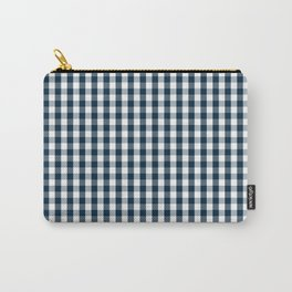 Silent Night Blue Christmas Large Gingham Check Carry-All Pouch