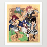fairy tail Art Prints featuring Fairy Tail Volume 1 Redone by Minty Cocoa