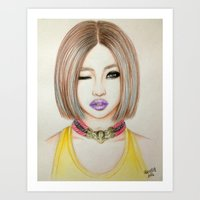 2ne1 Art Prints featuring Minzy Gong (2NE1) by Hileeery