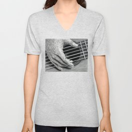 Untitled - Charcoal Drawing - guitar, music, hand, close up, classical guitar Unisex V-Neck