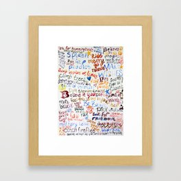 a love note for my son handwritten watercolor note Framed Art Print
