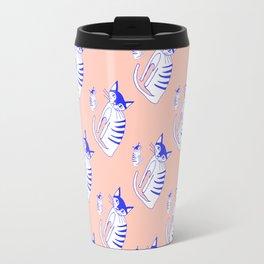 Neon cat in peach Travel Mug