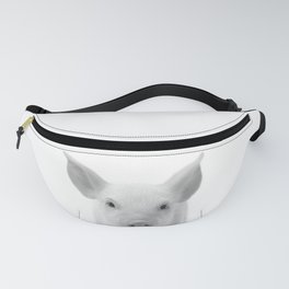 Baby Pig, Piglet, Black and White, Baby Animals Art Print By Synplus Fanny Pack