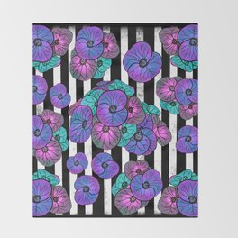 Florals over black and white stripes Throw Blanket