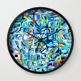 White blue Rainbow Colorful cubes Wall Clock