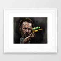 rick grimes Framed Art Prints featuring Rick Grimes by Rob McElhaney