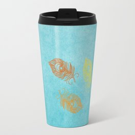 Grunge Royal Blue Aged Texture Sea Blue Peacock Feather Vintage Look Travel Mug