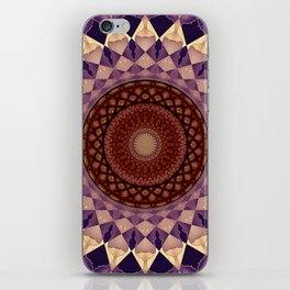 Mandala in beige and violet tones iPhone Skin