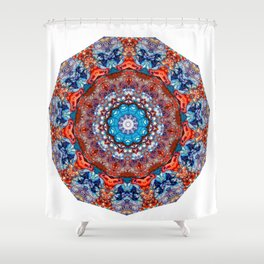 Digital Bright Colorful Red Blue Kaleidoscope Mandala Bohemian Shower Curtain