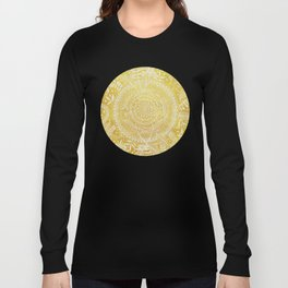 Medallion Pattern in Mustard and Cream Long Sleeve T-shirt