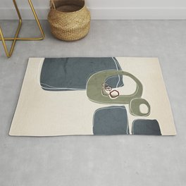 Retro Abstract Design in Sage Green and Peninsula Blue Rug