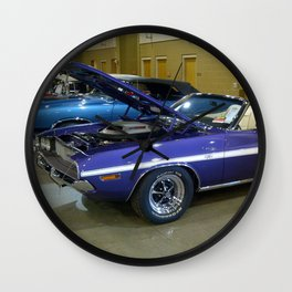 1970 Plum Crazy Purple 426 Hemi Challenger RT Convertible color photograph / photography  Wall Clock