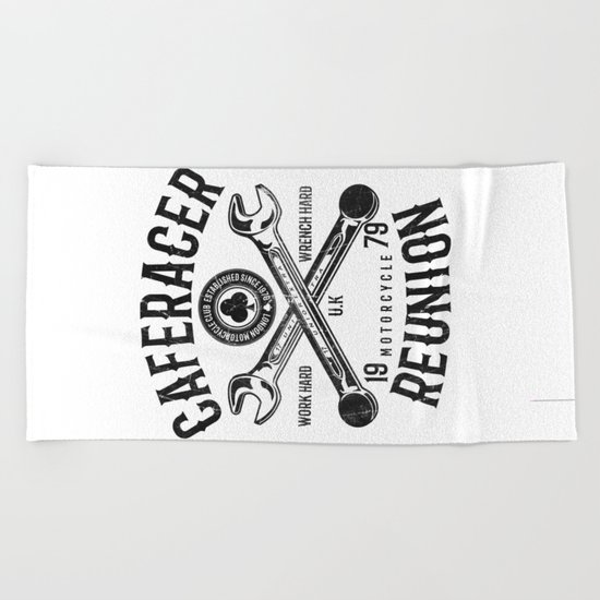 Cafe Racer Reunion Vintage Tools Poster Beach Towel