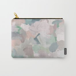 Mint Seafoam Green Dusty Rose Blush Pink Abstract Nature Flower Wall Art, Spring Painting Print Carry-All Pouch