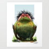 grumpy Art Prints featuring Grumpy by TamaraCampeauIllustration