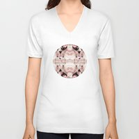 peonies V-neck T-shirts featuring Peonies by Cloudylocks
