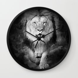 Lion Black and White  Mixed Media Digital Art Wall Clock