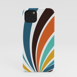 Funky Geometric Bright Yellow Orange Brown Teal Blue Colorful 70s retro stripes iPhone Case