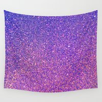 sparkles Wall Tapestries featuring Navy Blue Pink Sparkles by J&C Creations