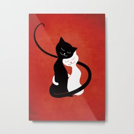 White And Black Cats In Love (red) Metal Print
