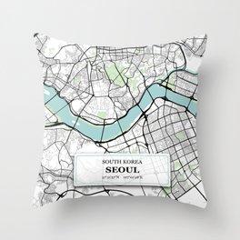 Seoul South Korea City Map with GPS Coordinates Throw Pillow