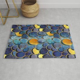 Abstract deep blue Rug