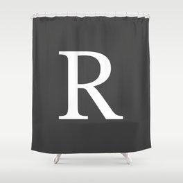 Very Dark Gray Basic Monogram R Shower Curtain