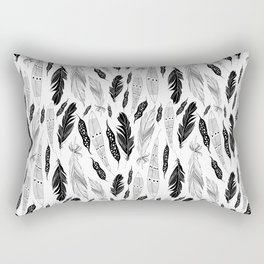 raphic pattern feathers on a white background Rectangular Pillow