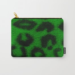 Spotted Leopard Print Green Carry-All Pouch