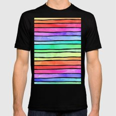 Bright Rainbow Colored Watercolor Paint Stripes Mens Fitted Tee Black MEDIUM