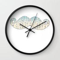 russian Wall Clocks featuring Russian mustache by Galina Khabarova