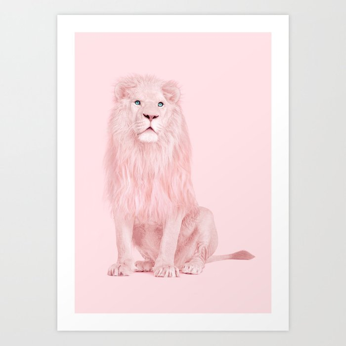 PINK LION Art Print