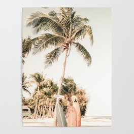 Surfboards and Palm Trees on the Beach Poster