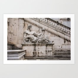 Statue of the Tiber at Piazza del Campidoglio in Rome Art Print
