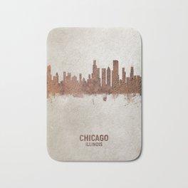 Chicago Illinois Rust Skyline Bath Mat