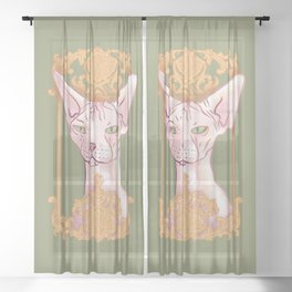 Royal Hairless Sphynx Cat in a Gold Baroque Frame - Green Background Sheer Curtain